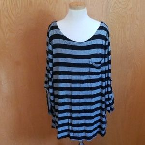 Cable & Gauge Black Gray Striped Shirt Sleeves XL